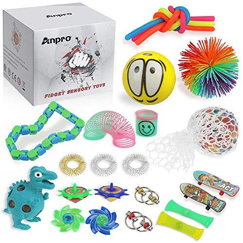 Anpro 24pcs Zappelspielzeug , Sensorisches Spielzeug für Autismus ADHS-Menschen, Stressbälle Angstabbau, Stressabbau und Anti-Angst-Geschenk für Erwachsene, Partytaschenfüller