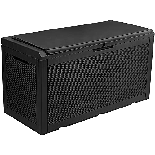 YITAHOME 100 Gallon Large Resin Deck Box Outdoor Storage with Cushion for Patio Furniture,Outdoor Cushions,Garden and Pool Toys-Waterproof,Lockable (Black)