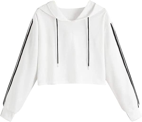 Redacel Womens Hooded Top Long Sleeve Splice Pullover Hooded Sweatshirt Croppped Tops Blouse