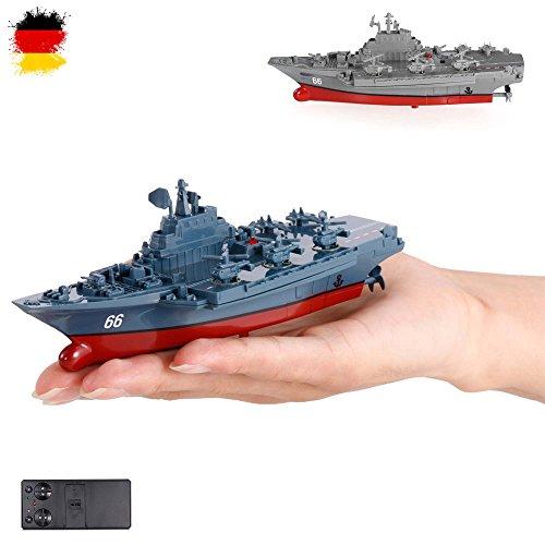 HSP Himoto RC ferngesteuertes Mini Kriegsschiff, Flugzeugträger, Schlachtschiff, Schiff, Boot, Komplett-Set inkl. integr. Akku, Fernsteuerung, Neu, OVP