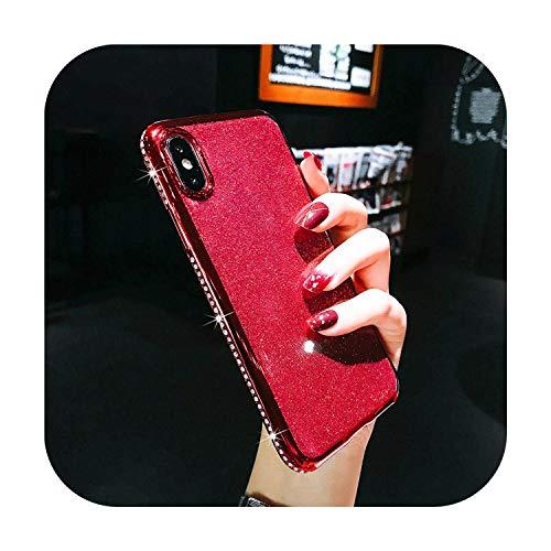Cover per iPhone X XR XS Max 11 Pro Max, in morbido silicone, con strass, per iPhone 6S 6 7 8 Plus