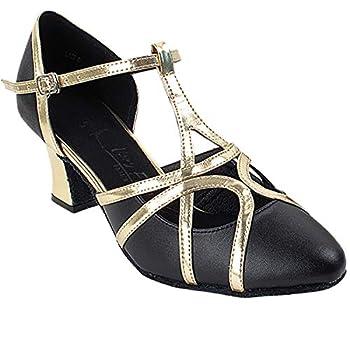Women s Ballroom Dance Shoes Salsa Latin Practice Shoes Black Leather & Light Gold Trim Sera3541EB Comfortable - Very Fine 2.2  Heel 9 M US [Bundle of 5]