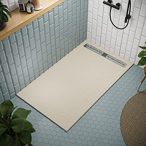 Shower Tray 700 x 1500 Stone Resin Tiber - Anti Slip and Low Profile - Matte Finish and Slate Texture - All Sizes Available - Shower Waste and Stainless Steel Grid Included - Cream RAL 1015
