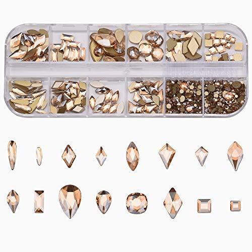 153pcs 3D Nail Diamonds Crystal Golden Shadow Flat Back Gem Stones For Nail Art Decoration + 960pcs Mix Loose Round Rhinestones Set Supply