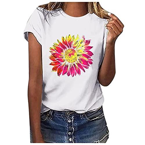Pistaz Camisa de manga corta para niña con estampado de girasoles, color liso, estilo informal, Blanco, 42