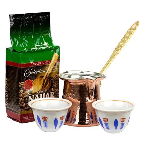 Mokka Set Ethiopia 4-teilig aus: 1 x Premium Najjar Mokka Kaffee gemahlen mit Kardamom 200 g, 2 x orientalische blaue Mokkatassen und 1 x Kupfer Mokkakanne 220 ml