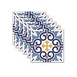 Serria Fliesenaufkleber Selbstklebende Klebefolie 3D Fliesen Klebefliesen 20 x 20 cm, 6er-Set Fliesendekor Fliesenfolie Bordüre Mosaikfliesen Wasserdicht Küche Bad