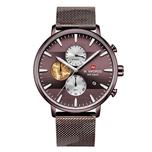Reloj para Hombre de Acero Inoxidable Resistente al Agua con Correa de Metal-C