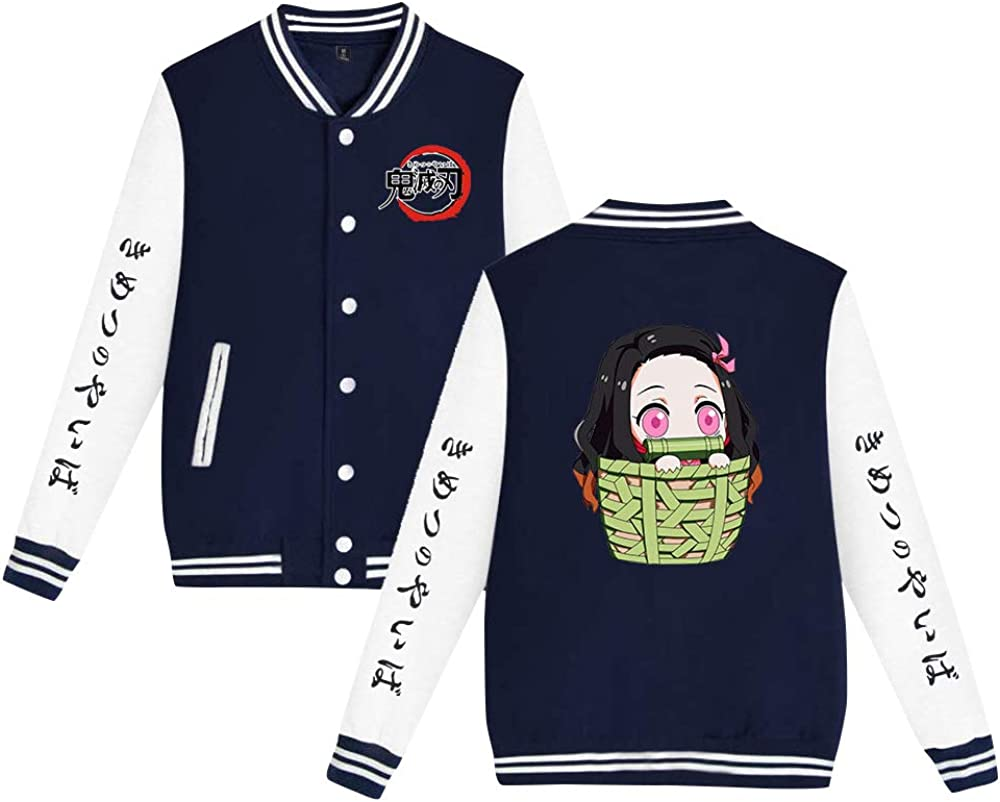 Anime Demon Slayer Kimetsu no Yaiba Crewneck Sweatshirt Cute Nezuko Print Pullover Sweater New Unisex Jacket Coat