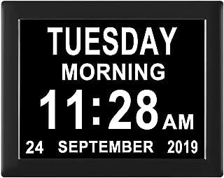Jaihonda [8 Alarm Options Day Date Clock-Digital Calendar Alarm Clock,Extra Large Non-Abbreviation Day & Month,Memory Loss...