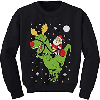 T-Rex Santa Ride Funny Ugly Christmas Sweater Toddler/Kids Sweatshirts