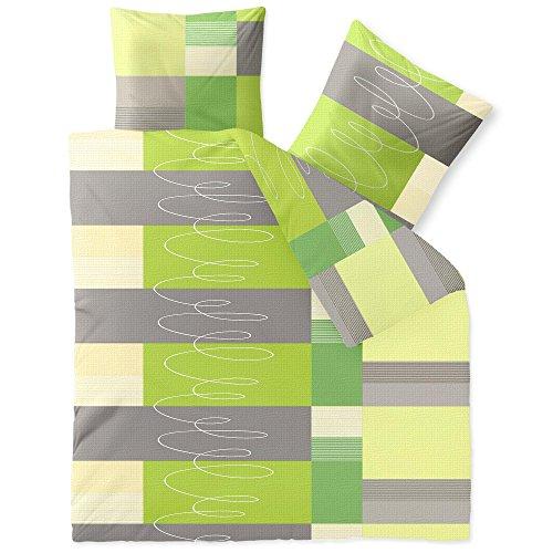 CelinaTex Enjoy Bettwäsche 200 x 220 cm 3teilig Baumwolle Bettbezug Seersucker Ellen Streifen Kreise Grau Grün Weiß