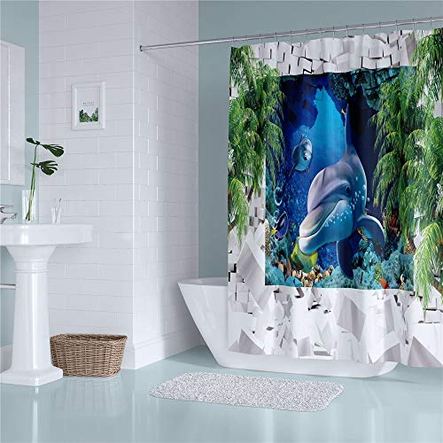 Douchegordijnen - Underwater World Fish Blue Sea patroon polyester extra lange badgordijnen, waterdicht anti-schimmel badkamerdecoratie met gordijnhaken