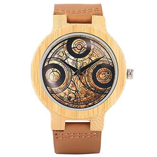LCDIEB Orologio Casual in Legno Dr. Who Ancient Magic Circle Dial Simple Uomo Donna Sport Bamboo Orologio da Polso TV Fans Clock, Bronzo