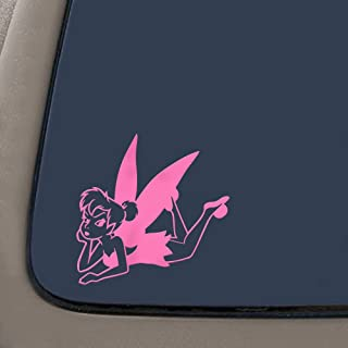 NI298 Tinkerbell Laying Cartoons Car Window Wall Laptop Decal Sticker | Pink | 5.5-Inches By 5.4-Inches