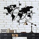 Metal World Map – Metal Weltkarte – Silueta de pared de metal 3D Decoración de pared Decoración del hogar Oficina Dormitorio Salón Escultura (Negro, 117 x 91 cm)