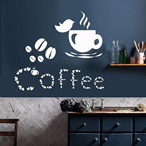 BJWQTY Wandaufkleber Kaffeetasse Wandaufkleber Liebhaber Vogelhaus Dekoration Kaffeebohne Wandkunst Wandbild Café Dekoration Fensteraufkleber 64x57cm