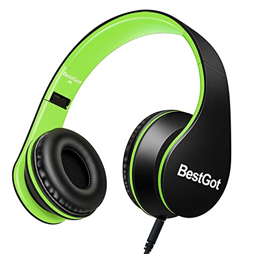 BestGot Children Kids Headphones for Kids Boys Adult with Microphone Volume Control Foldable Headset with 3.5mm Plug Removable Cord (Wired Black/Green)