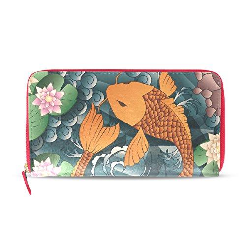 Japanische Koi Fisch-Leder-Geldbörse, Clutch, Kartenhalter, Handtasche, Geschenk für Ihr Mädchen