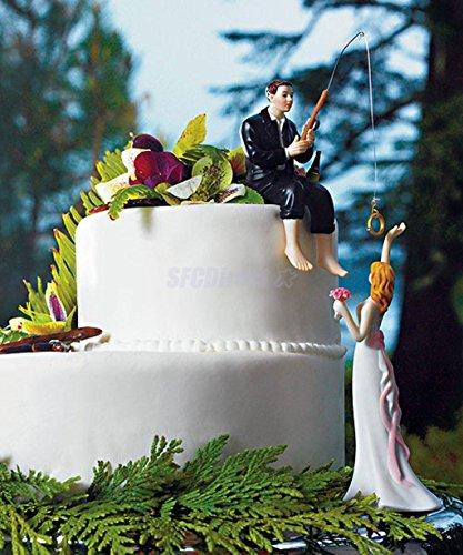 Espeedy Kuchen süchtig auf Liebe Angeln Bräutigam Fangen Braut lustige Hochzeitstorte Topper Decor