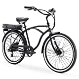 sixthreezero Around The Block Men's Electric Bicycle, 7-Speed Beach Cruiser eBike, 500 Watt Motor, 26' Wheels, Matte Black with Black Seat and Grips