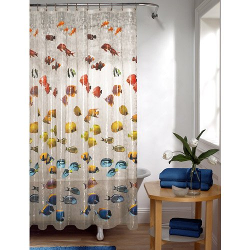 Mainstays Colorful Tropical Fish PEVA Shower Curtain Clear 70x72