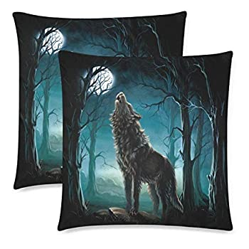 Werewolf Wolf in Forest Howling to The Full Moon Pillowcase Pillow Cushion Case Cover Twin Sides Wild Animal Decor Polyester Zippered Throw Pillow Case Decorative Set of 2 20x20 inch