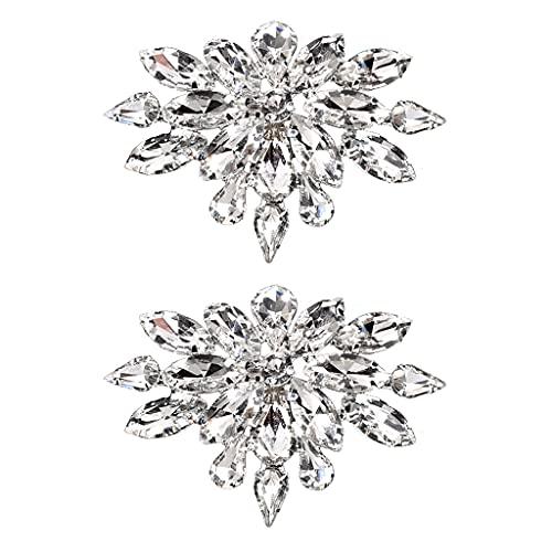 ERUYN 2 uds, Diamantes de imitación de Cristal, broches para Zapatos de graduación para Fiesta de Boda, Hebillas, Decoraciones, Accesorios para Manualidades DIY para Novia y Mujer, Plata