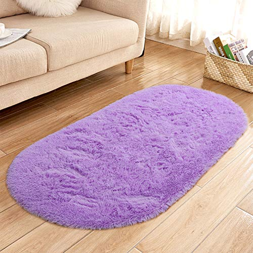 YJ.GWL High Pile Soft Shaggy Area Rugs for Nursery Bedroom Floor Baby Fluffy Carpets Anti-Slip Home Decor Rugs 2.6' X 5.3' Oval Purple