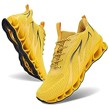 MOSHA BELLE Running Shoes Men Breathable Yellow Sport Air Fitness Athletic Gym Jogging Sneakers 10.5