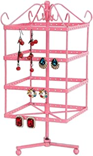 Papinimo Hot Pink 144 Holes Rotating Jewelry Earrings Dispaly Stand Earrings Accessories Holder Organizer Ring Rack Towers