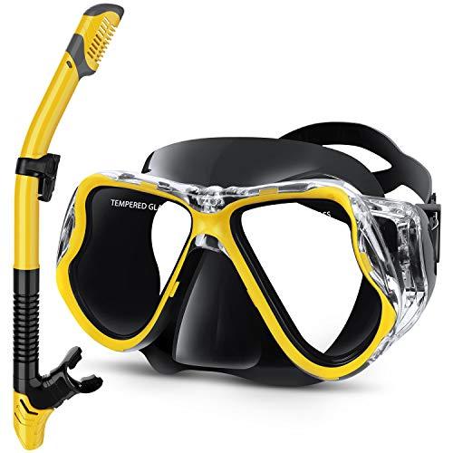 Greatever Set per Snorkeling, Maschera Snorkeling Anti-Appannamento con Panoramica a 180 Gradi e Boccaglio Snorkel, Kit Snorkeling Professionale per Adulti (Nero Giallo)