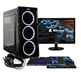 NITROPC - PC Gaming Pack Bronze Rebajas | PC Gamer (CPU Ryzen 3200G 4 x 4,00Ghz (Turbo) | Gráfica Vega 8 2GB) + Monitor 19' + Teclado + ratón + Cascos | RAM 16GB | M.2 240GB | HDD 1TB