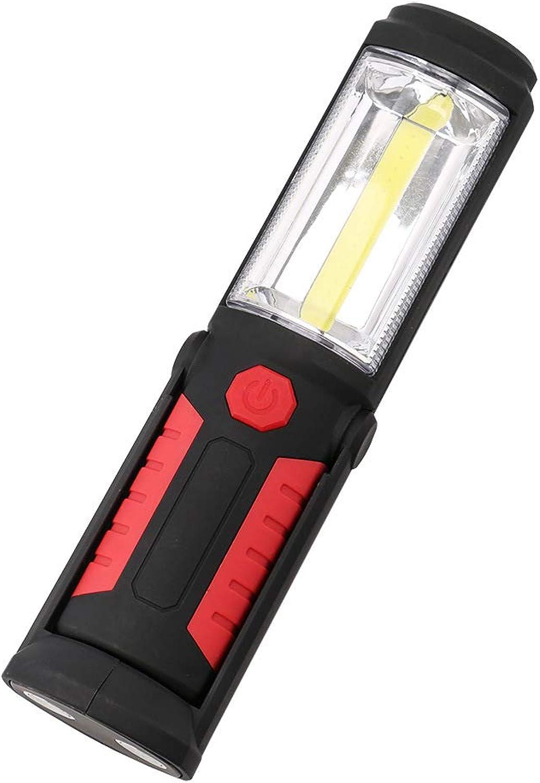 COB Flashlight Car Repair Emergency Light Dry Battery Work Light Outdoor Lighting Camping Light,Red,21.5cm5.7cm