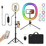 """2NLF Luce ad Anello LED,12""""Selfie Ring light 26 RGB colori modalità, Max61""""staffa triangolare e doppio supporto per telefono, Telecomando Bluetooth, Lampada Anulare per Tik Tok/Streaming Live/YouTube"""