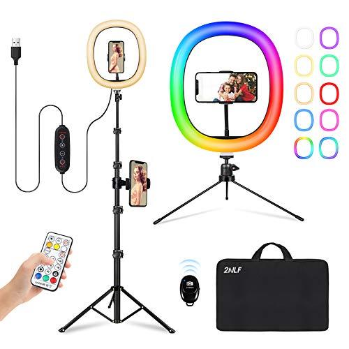 2NLF Ring Light 12' Luce ad anello LED Selfie colori per Youtube/TIK Tok/video/fotografia,con 26 modalità colori regolabili,3 Modalità di Illuminazione e 10 Luminosità,2 telefono cellulari posizionati
