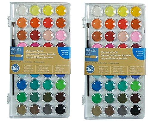 Artists Loft Fundamentals Watercolor Pan Set, pbEfIx 2 Pack(36 Colors)