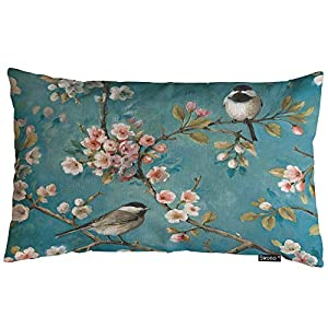 Swono Hummingbird Throw Pillow Cover Vintage Two Hummingbird with Flower Cotton Linen Decorative Rectangular Pillowcase…
