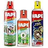 Vape Open Air Insetticida Insetti Zanzare Comuni e Tigre Spray da 500ml + Vape Cimici Spray per Cimici Ragni e Millepiedi da 300 ml + Vape Vespe Spray all'Aperto Elimina Vespe Calabroni da 400 ml