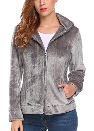 Meaneor, giacca da donna in pile con colletto alto e cappuccio grigio scuro XXL