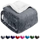 BEAUTEX Sherpa Fleece Throw Blankets, Soft Fluffy Flannel Plush Blanket and Throw, Fuzzy Cozy Grey Cuddle Blankets for Couch Bed Sofa Adults (50' x 60', Grey)