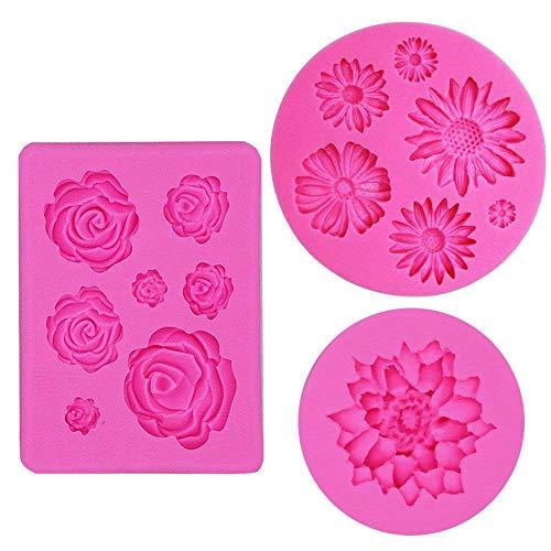 IHUIXINHE Silicone Cake Mould Fondant Molds Silicone Baking Molds (Flower Daisy Roses)