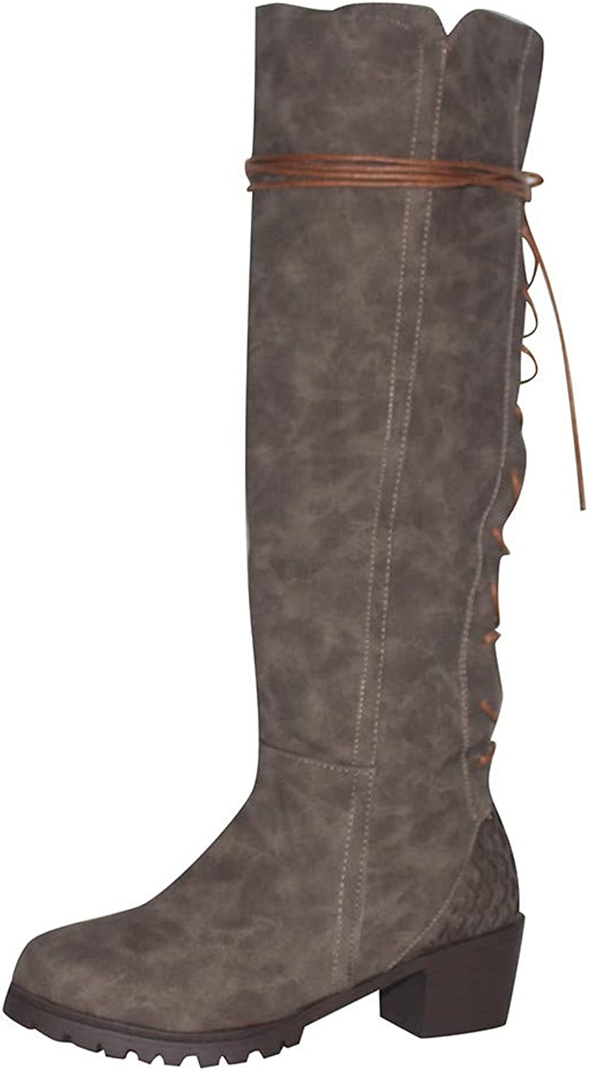 ASTV Women Retro Wild Knee High Boots Leather Side Cross-Tied Riding Boots