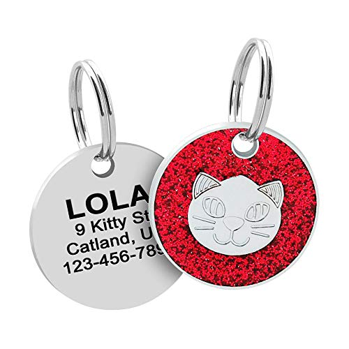 Custom Engraved Cat Tag ID, Sparkly Stainless Steel Cat Name ID, Cute Cat Tag ID with Split Ring, Glitter Small Cat ID Tag, Bling Kitten ID Collar Tag