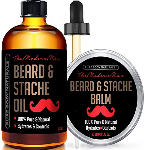 Beard Oil and Beard Balm Kit for Mustache and...