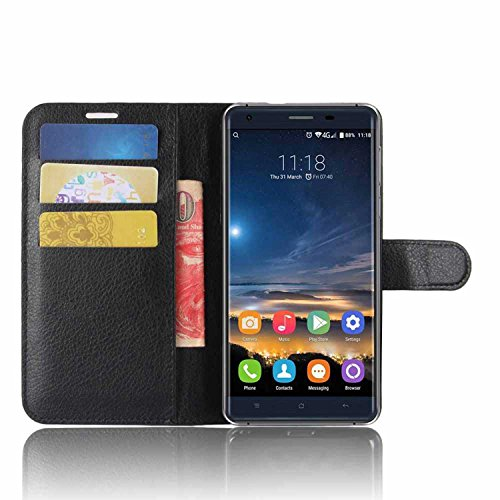 Tasche für Oukitel K6000 Pro Hülle, Ycloud PU Kunstleder Ledertasche Flip Cover Wallet Case Handyhülle mit Stand Function Credit Card Slots Bookstyle Purse Design schwarz