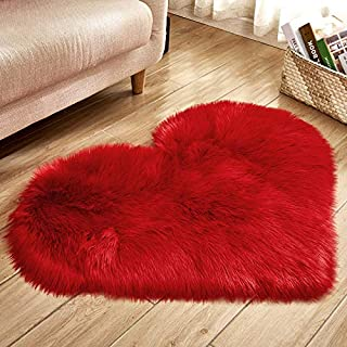Heart Shaped Soft Faux Sheepskin Fur Area Rugs for Home Sofa Floor Mat Plush, 3ft x 2.2ft (Red)