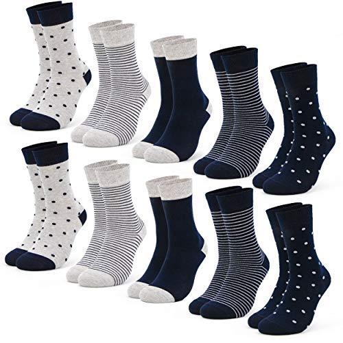 Occulto 10 Paar Damen Socken aus Baumwolle Punkte und Streifen Baumwollsocken Sneakersocken (39-42, Blau)