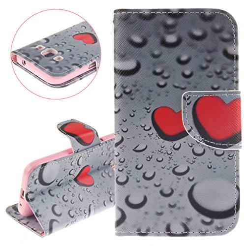ISAKEN Compatibile con Samsung Galaxy Core Prime G360 Cover, Creative Libro Portafoglio Custodia PU Cuoio Leather Cover Flip Rigida Wallet Copertina Wallet Caso con Funzione di Supporto - Cuore Rossa