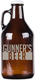 Personalized Etched 32oz Amber Glass Growler